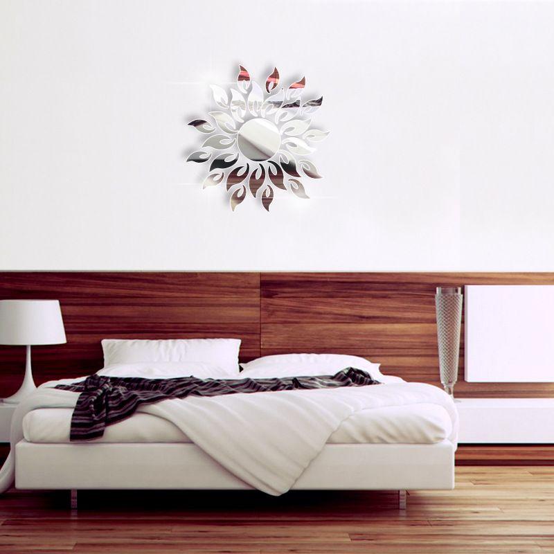 DIY Sparkly Sun Pattern Acrylic Crystal Decals 3D Modern Design Mirror Surface Wall Sticker Living Room Bathroom Mural Decor Home Art