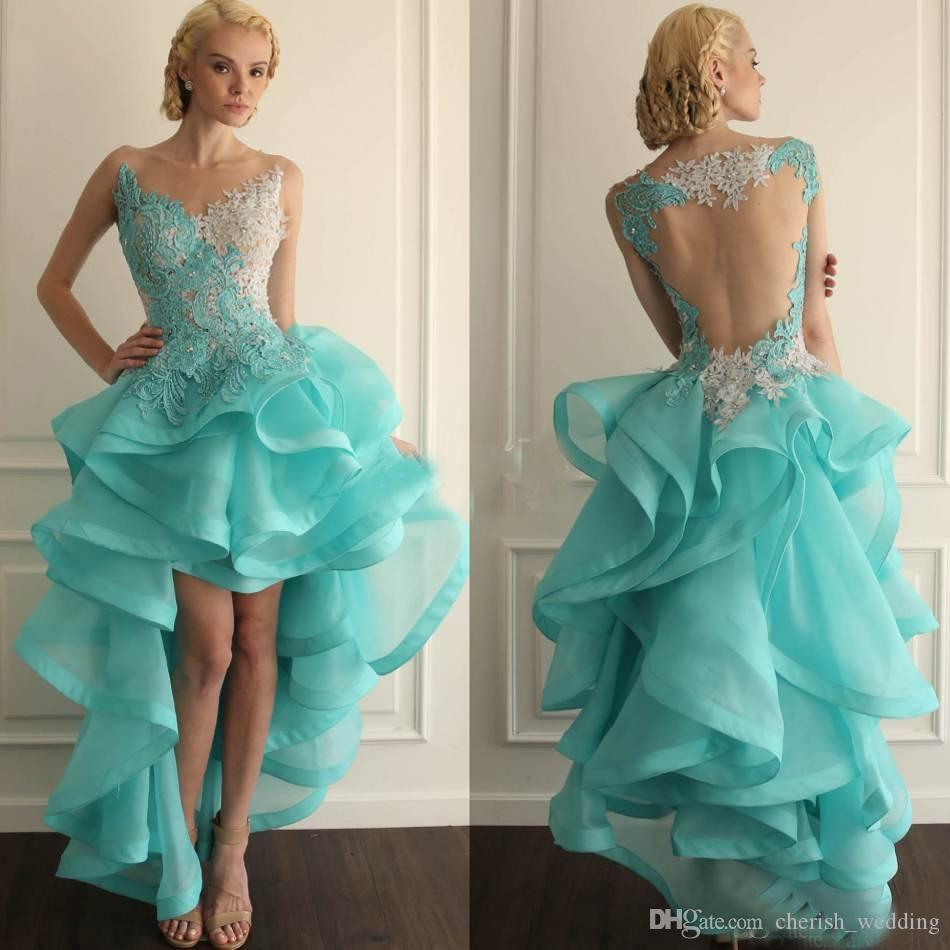 Hi Lo Ball Gown College Homecoming Dresses Mint Green Organza ...