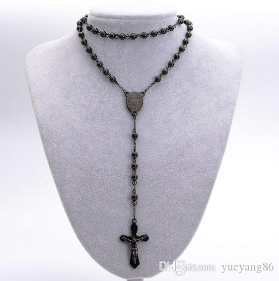 Fashion Black Round Bead Chain 316L Stainless Steel religious Crucifix Rosary Necklace Mens Cool Jewelry