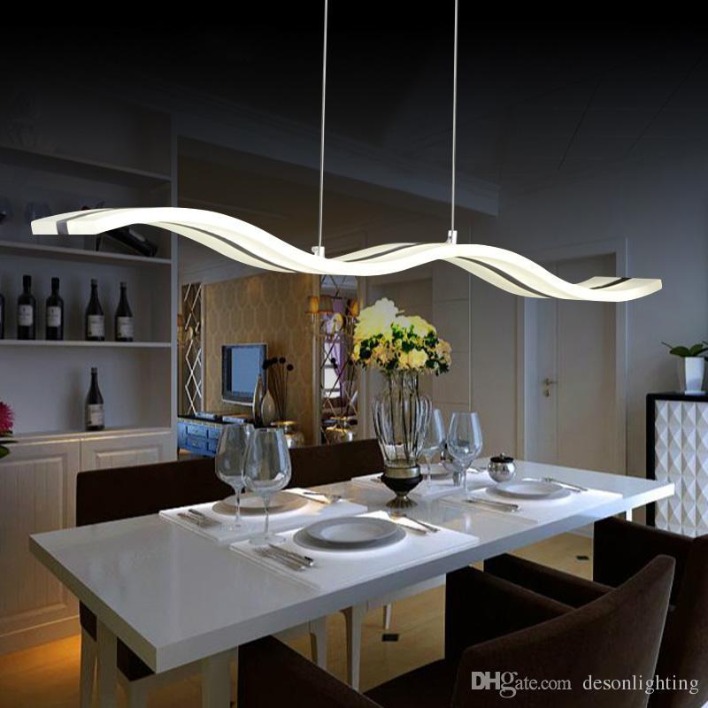 Acquista moderna lampada a sospensione a led luce cucina acrilico sospensione appesa lampada da - Lampada a sospensione per tavolo pranzo ...