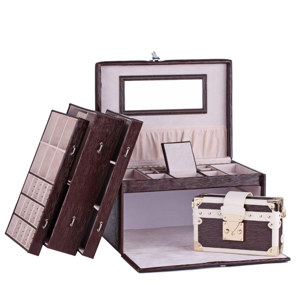 White Rose Extra Large Jewelry Box Watch Storage Case With Locku0026Women Bag  Mirror Faux Leather Bracelet Ring Display Container 43 Jewelry Box Gift Box  Online ...