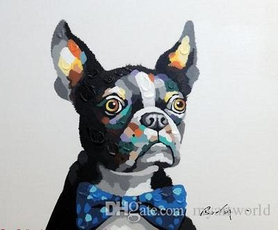 Boston Terrier Portrait Bow Tie Dog, Pure Hand Painted Animal Art Oil Painting Canvas.any customized size accepted John