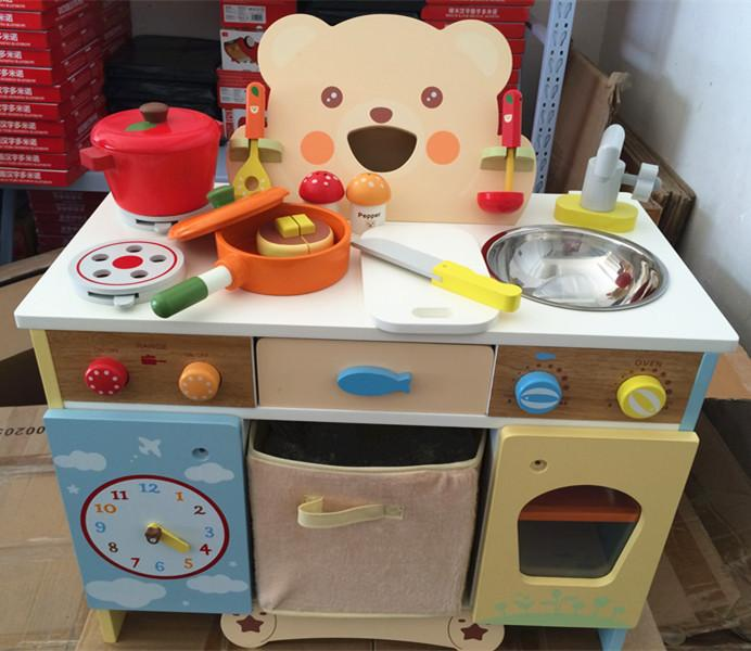 Großhandel Baby Spielzeug Karikatur Bären Küche Set Holzspielzeug ...