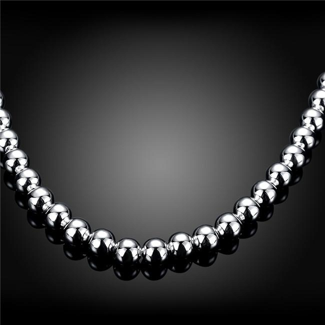 Heavy 75g '8MM beads necklace male models solid sterling silver necklace STSN111A,fashion 925 silver Chains necklace factory direct sale