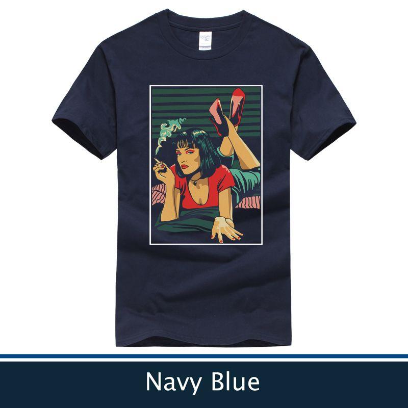 989cffdd28 Acheter Mode Pulp Fiction T Shirt Hommes Femmes T Shirt Casual Noir Couleur  Et Bleu Marine Tee De $11.84 Du Mengmayinxiang | DHgate.Com