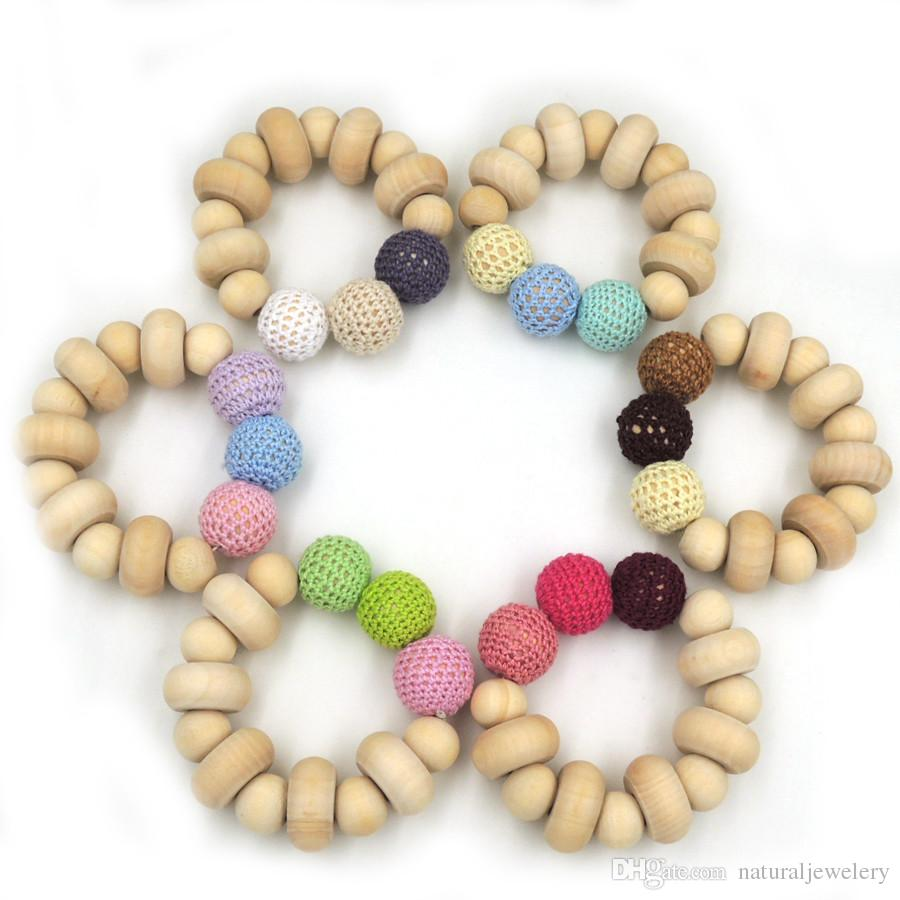 2016 Hot sale chunky Crochet nursing toy, natural wood beads baby crochet bead fade color to choose donut NT105