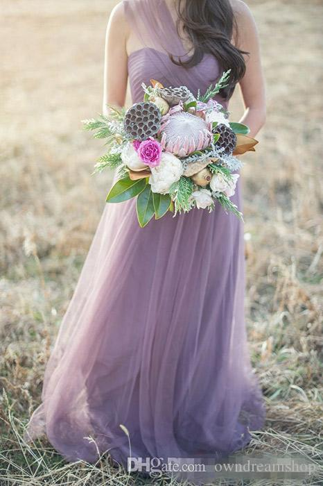 2016 Summer Convertible A-Line Bridesmaid Dresses with Sweetheart Halter Lilac Light Purple Tulle Long Plus Size Maid Of Honor Gowns Cheap