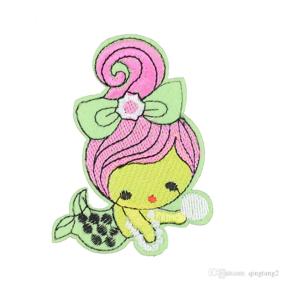 red hair mermaid embroidery patches for clothing iron patch for clothes applique sewing accessories on stickers clothes iron on patch