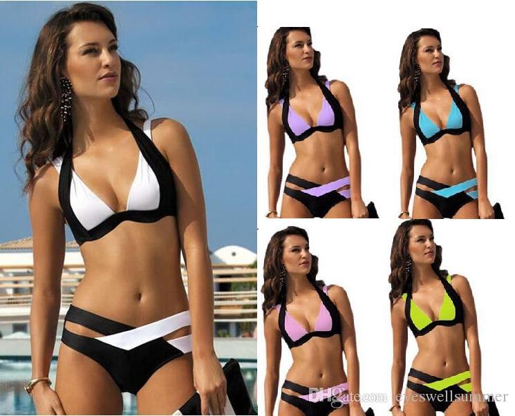 5cab07ad4cd 2019 2016 High Quality Women Low Waisted Bathing Suits Slim Whitte Black  Push Up Chest Wrapped Halter Bikini From Eyeswellsummer, $6.54 | DHgate.Com