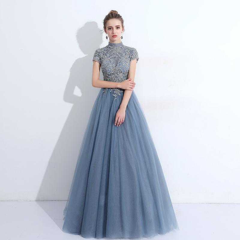 Evening Prom Dress 2017 Elegant Blue High Neck Tulle Short Sleeves ...