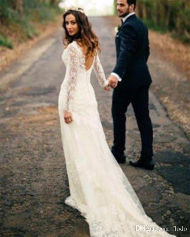Vintage Chic Wedding Dresses: Discount Vintage Full Lace Long Sleeve Backless Wedding