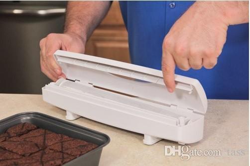 Frete grátis Wraptastic Food Wrap Dispenser Folha De Alumínio Cera Cortador De Papel 24 pçs / lote