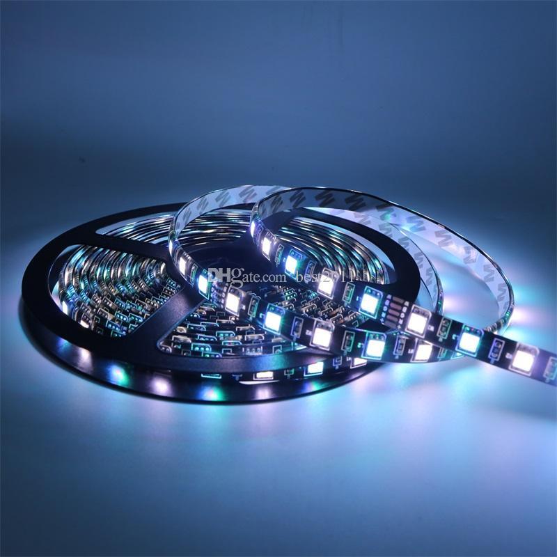 Svart PCB 5050 RGBW RGB + Varm Vit / Vit LED-remsa IP65 Vattentät RGBW Mixed Color DC12V 60LED / M