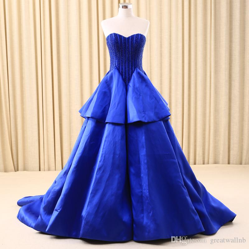 Royal Blue Stripe Hand Sewing Beading Queen Ball Gown Medieval Dress ...