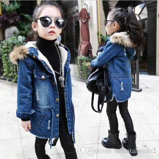 dd3b1961a 2016 New winter Kids girls denim jacket children plus thick velvet jacket  big virgin long warm