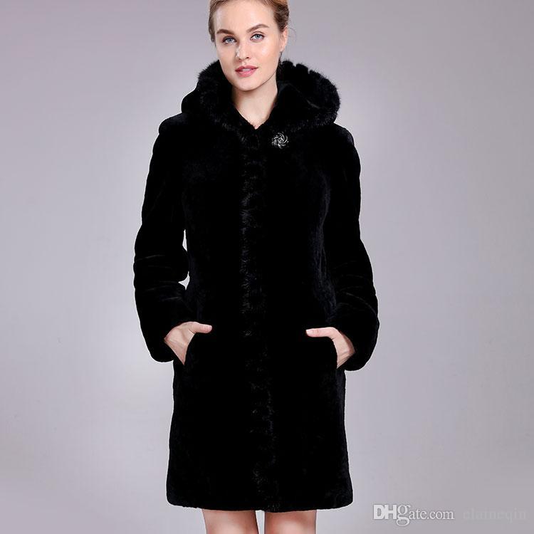 2018 Sheep Shearing Fur Coat For Woman Winter Natural Sheepskin ...