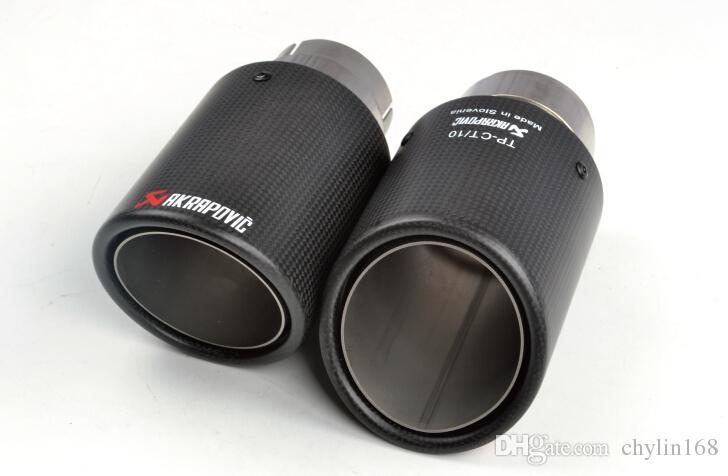 탄소 섬유 코팅 스테인레스 스틸 범용 자동차 배기 파이프 팁 Tailtip 101mm / 63mm Akrapovic 자동차 배기 매트 블랙