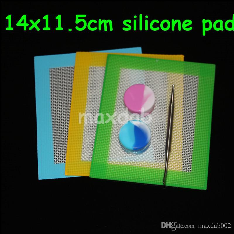 100 pz silicone stuoie di cera quadrati fogli pastiglie mat barile tamburo 26 ml contenitore di olio di silicone dabber strumento vetro bong nector collettore