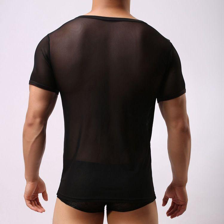 clubwear sexy manga corta de malla Hombres camiseta elástica transparente Hombre ver a través de la parte superior