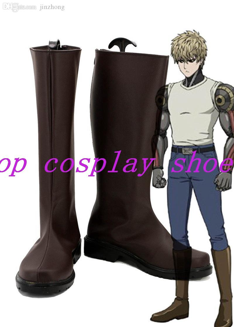 One Punch Man Anime Demon Cyborg Genos Cosplay Shoes Brown Boots Custom Made