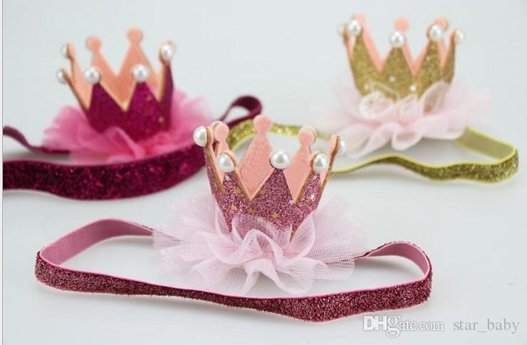 2016 Baby Crown Headband Baby Bling Elastic Headwear New Born Baby Photography Props Lace Hair Accessories K7139