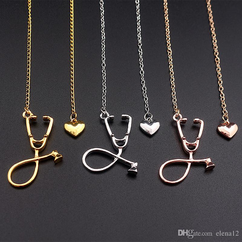 Wholesale I Love You Heart Stethoscope Necklace Silver