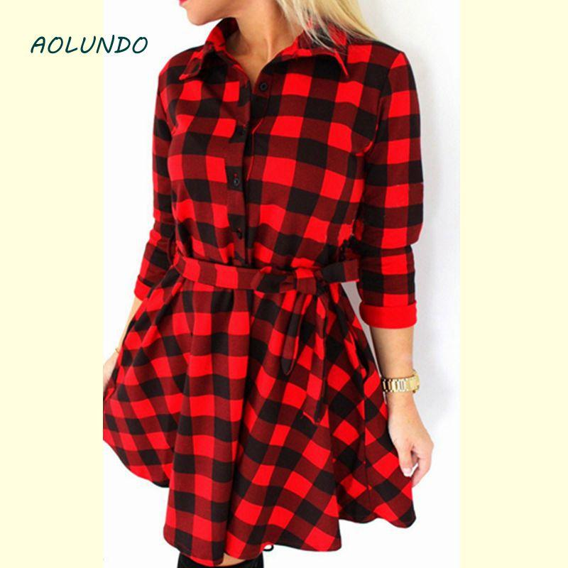 4a413eb03f2 Online Cheap Wholesale 2017 Explosions Leisure Vintage Dresses Autumn Fall  Women Plaid Check Print Spring Casual Shirt Mini Dress By Hongxigua