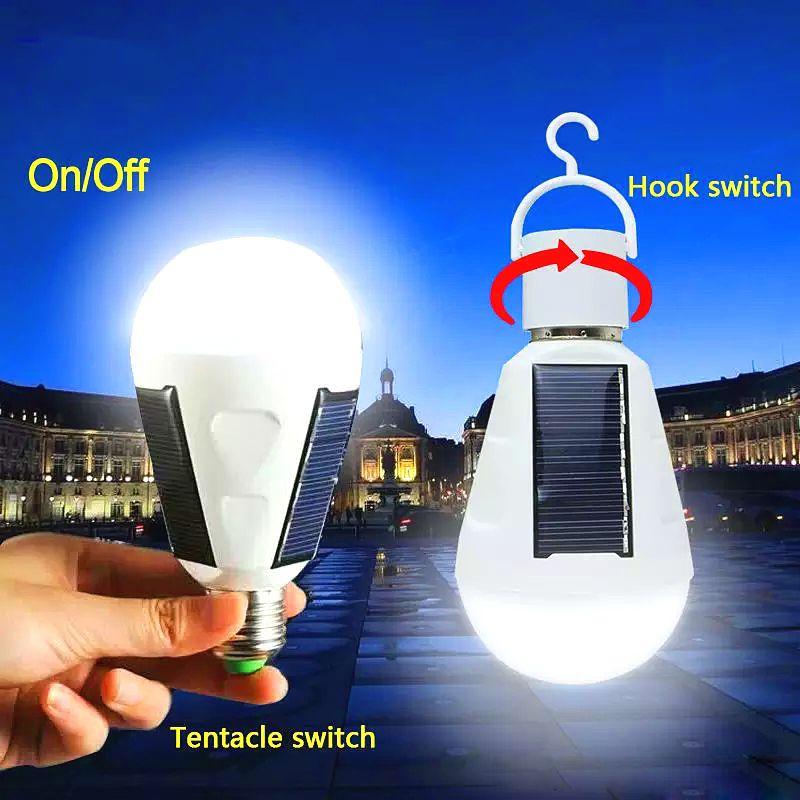 태양 조명 E27 7W 태양 램프 85-265V 에너지 절약 빛 LED 지능형 램프 충전식 태양 조명 비상 전구 일광 ZJ0557