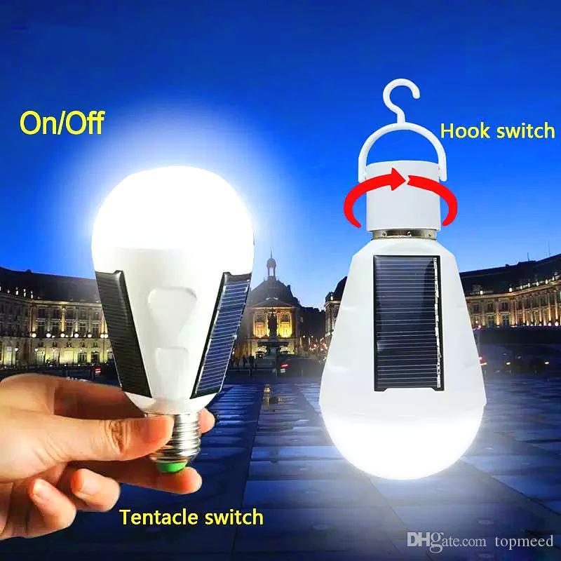 Luces solares E27 7W Lámparas solares 85-265V LED de ahorro de energía LED Lámpara inteligente Lámpara inteligente Iluminación solar de emergencia Bombilla de emergencia ZJ0557