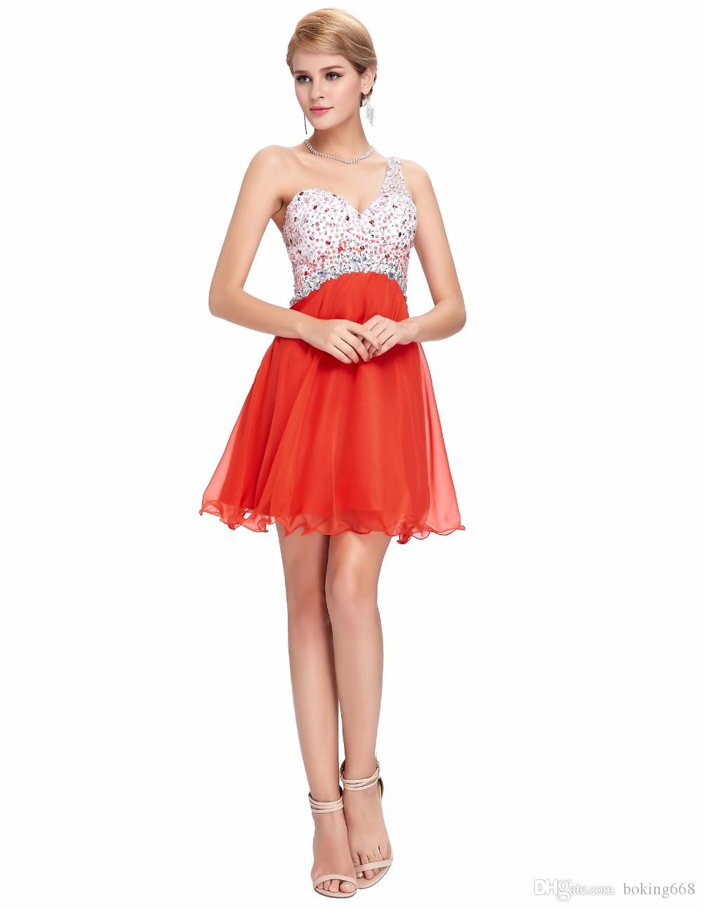d7dbe937f25f5 Short prom dresses orange Cocktail Dresses 2016 short summer dresses  Beading sexy sweetheart elegant Strapless dress party gowns