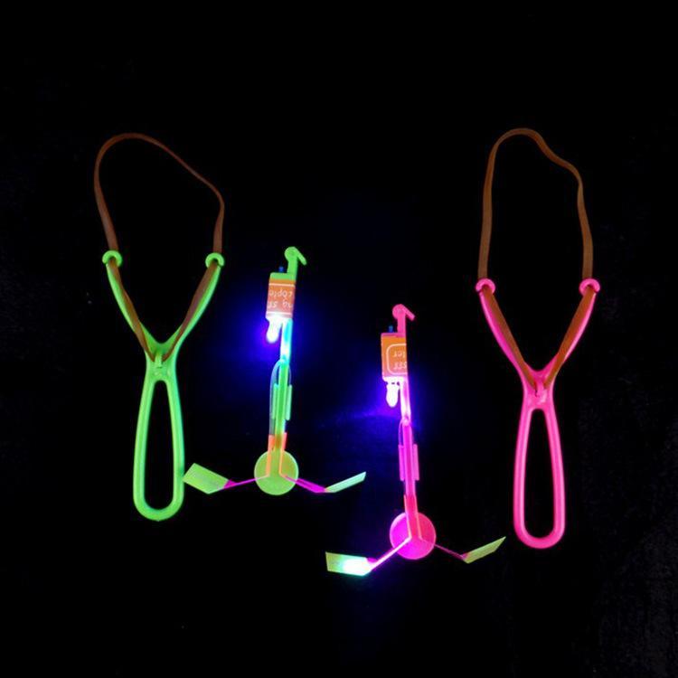 LED Luminous Dragonfly Flying Arrow Flash Ejection Rocket Novelty Children Toys Amazing LED Flying Arrow Helicopter Funny Slingshot Gifts