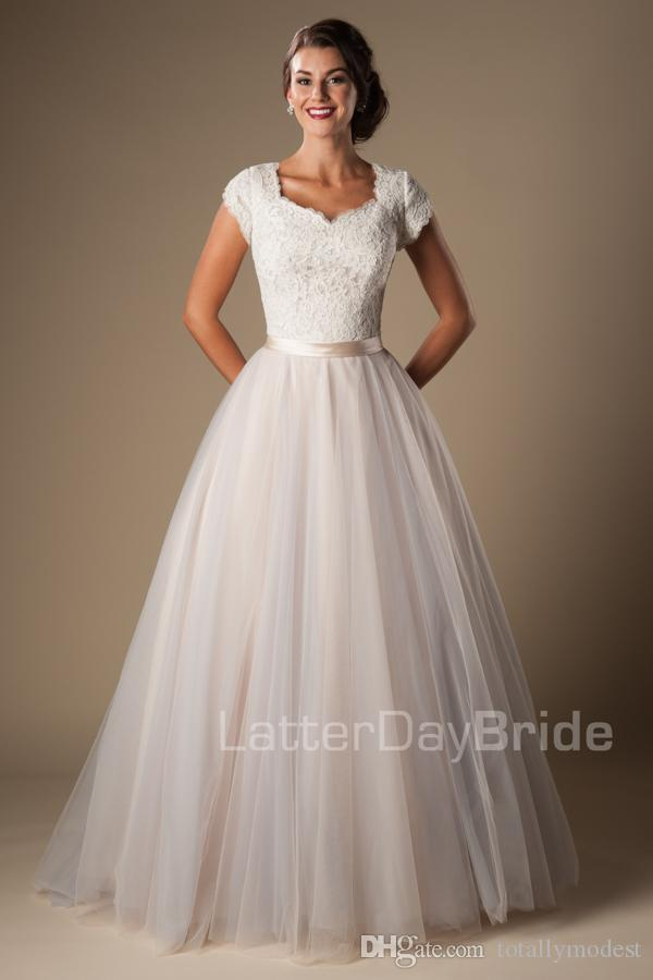 Lace Tulle Ball Gown Modest Wedding Dresses With Cap Sleeves Short Sleeves Long Temple Bridal Gowns Button Champagne Wedding Gowns New