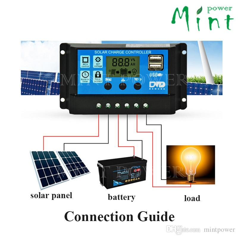 10A 12V/24V auto work PWM SOLAR charge controller with LCD display, dual 5V 3A USB port for solar system ,protect battery