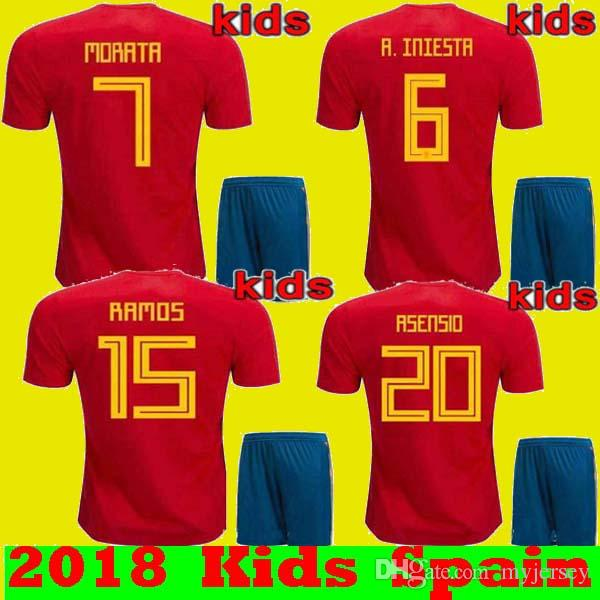 4c2816997f0 KIDS Set 2018 WC Spain Soccer Jerseys Home Red ISCO PIQUE RAMOS A. INIESTA  ASENSIO MORATA TORRES Youth Jersey BOYS ESPANA Camisas Maillot Spain 2018  Kids ...