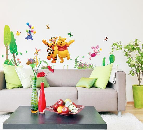 Animal Cartoon Winnie Pooh Vinyl Wall Stickers for Kids Rooms Boys ...