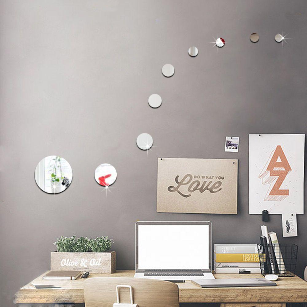 Diy Round Circles Wall Mirror Acrylic Mirrored Decorative Wall ...