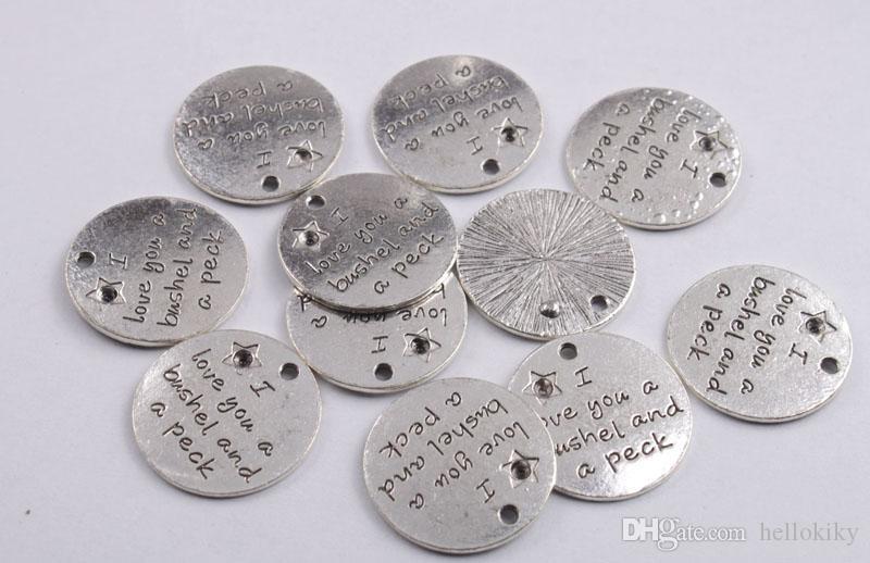 Moda Antiqued Silver Metal Aphorism Charme Pingentes com vários palavra para marcação de jóias DIY