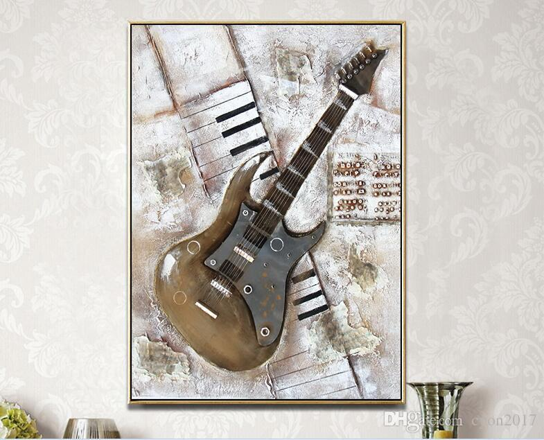 2018 Handmade Musical Instrument Abstract Guitar Oil Painting ...