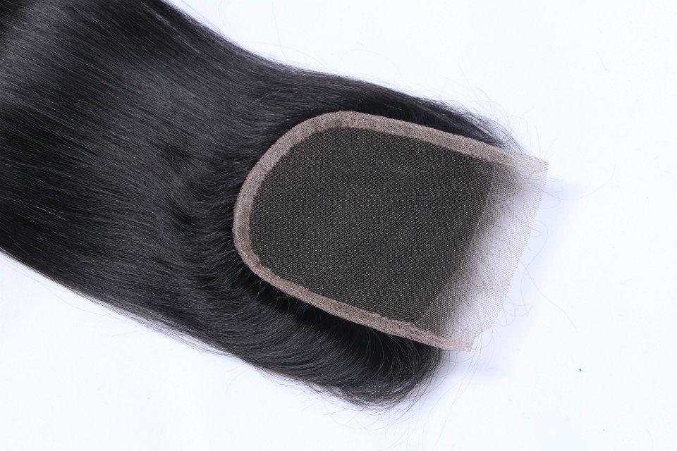 light yaki Lace Closure 4*4 Bleached Knots Italian light yaki Human Hair Lace Closure Natural Black hair color