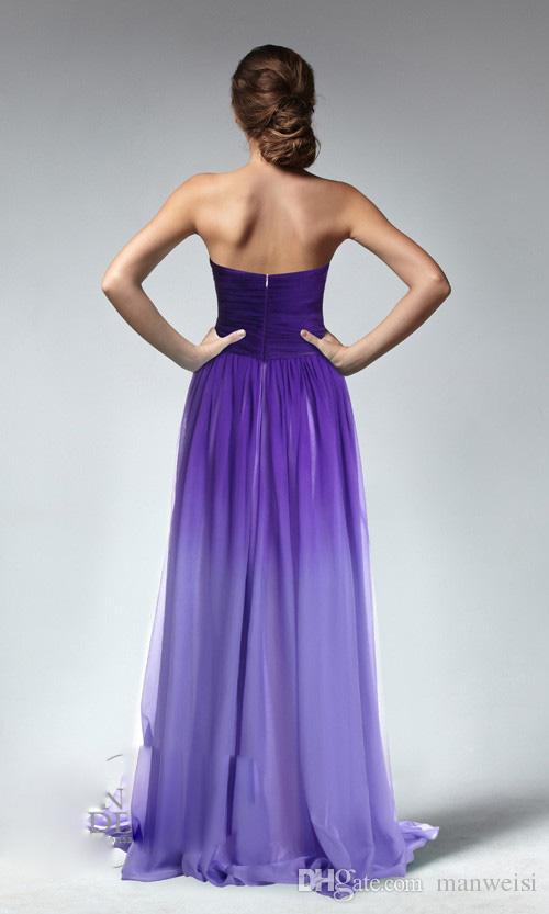 Ombre Purple Cheap A Line Long Bridesmaid Dresses Sweetheart Backless Sleeveless Ruched Cheap Bridesmaids Gowns Custom Made Girls Dress