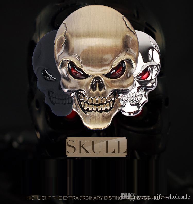 10 Stücke Hohe Qualität Schädel Teufel 3D Motorrad Auto Emblem Abzeichen Logo Aufkleber Aufkleber Auto Styling Aufkleber Zubehör 5 farben für entscheidungen