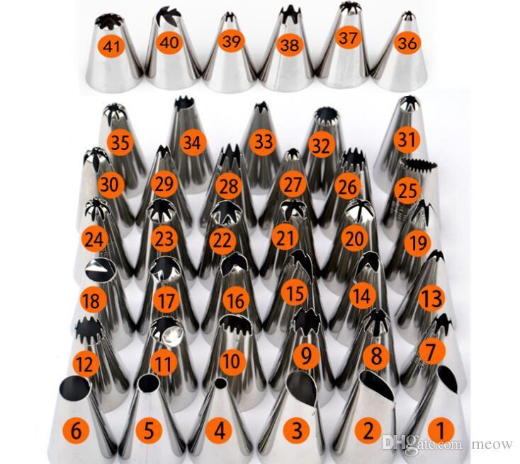 Kits de puntas para decorar pasteles, 42 piezas, boquillas de acero inoxidable para glaseado con caja de plástico con acoplador