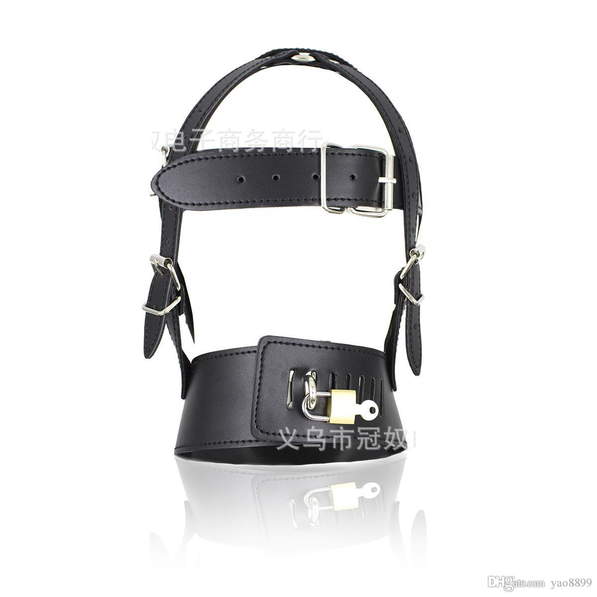 BDSM Sex Toys Black Leather Head Harness With Muzzle Leather Muzzle Bondage Restraint Gear Adult Sex Product A990