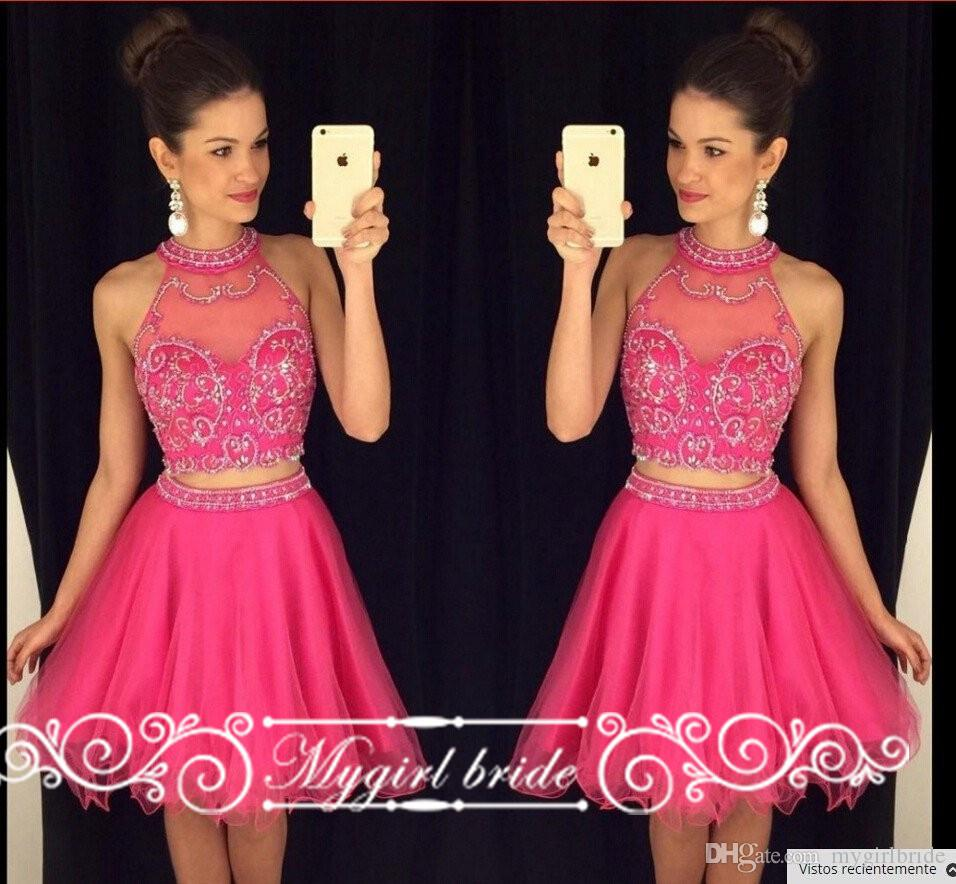 Hot Pink Two Piece Short Homecoming Dresses Halter Neck Beaded ...