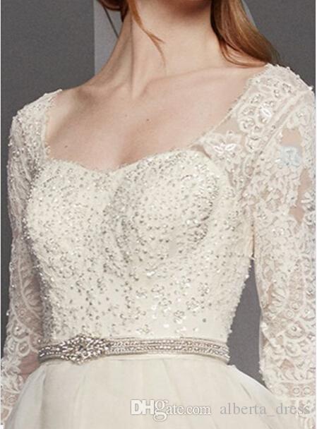Maßgeschneiderte A-Linie Brautkleider EXTRA LÄNGE Oleg Cassini Organza Ballkleid Kleid mit 3/4 Ärmel Stil Brautkleider