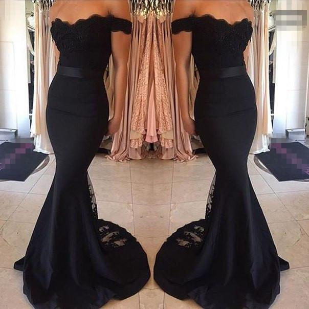 Black Prom Dresses Mermaid Lace Off The Shoulder Bodycon Evening