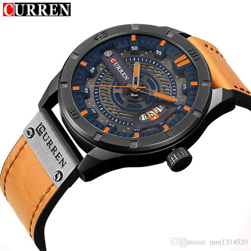 f9d1c0c827ef Compre CURREN Fecha Hombres Reloj Nuevo Top Marca De Lujo Deporte Ejército  Militar Negocio Hombre Reloj Cuero Cuarzo Muñeca Relojes Para Hombre Caja A  ...