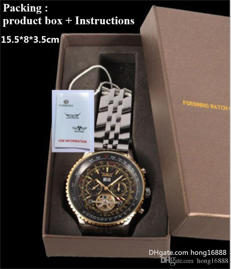 Fashion Winner Black Leather Band Stainless Steel Skeleton Mechanical Watch For Man Gold Mechanical Wrist Watch product box