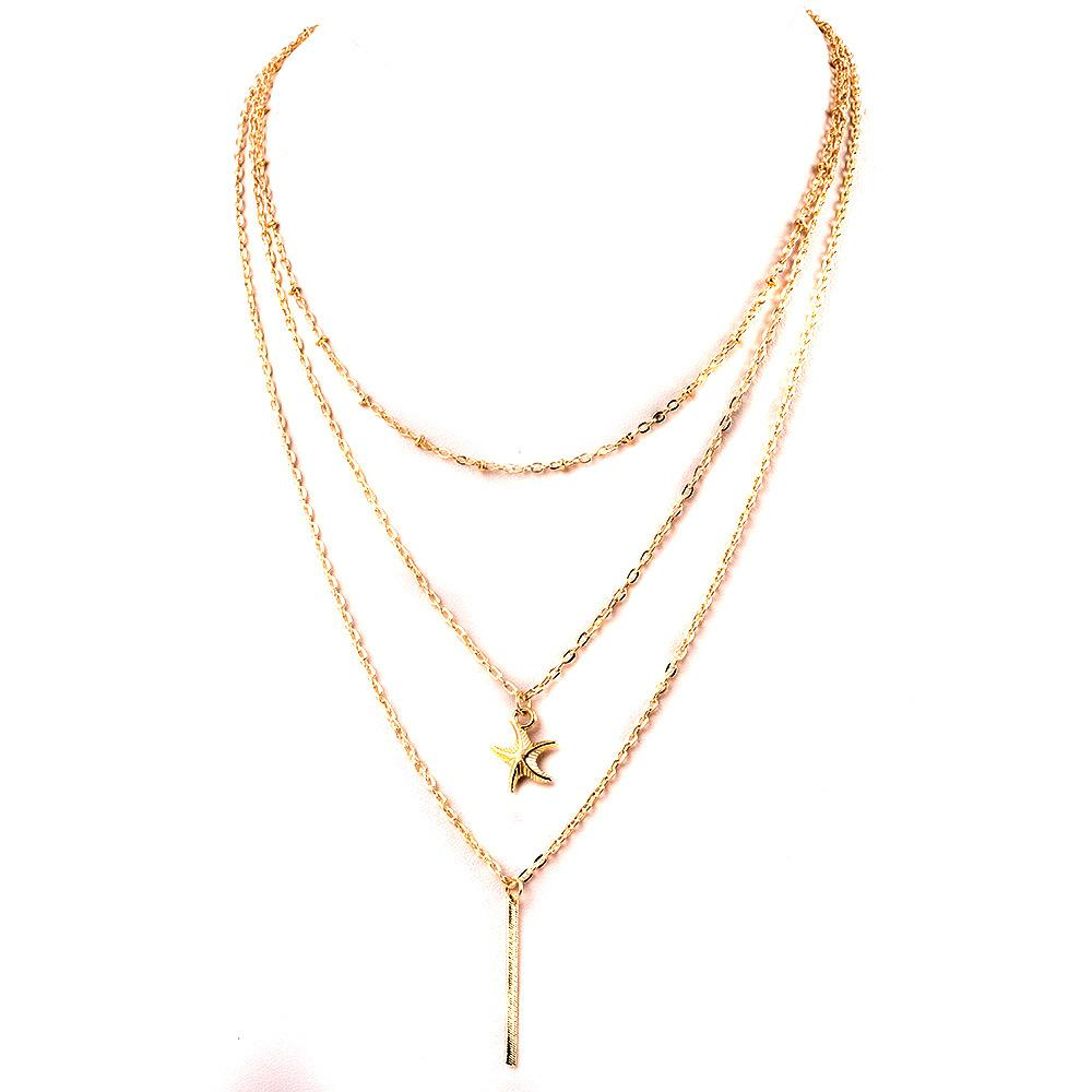 Wholesale vintage gold plated star pendant necklace fashion women wholesale vintage gold plated star pendant necklace fashion women korean three layer chains choker necklace summer costume jewelry high quality mens aloadofball Image collections