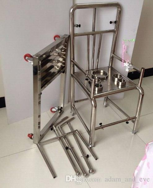 Heavy Duty Stainless Steel Tuning Chair with Open Legs Fixed Hand cuffs Sex Chair BDSM Bondage Sex Furniture Sex Games for Couple